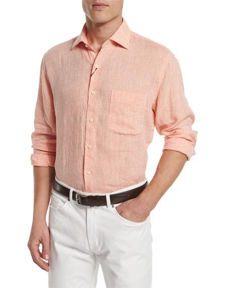 Peter MillarSolid Long-Sleeve Linen Shirt, Orange