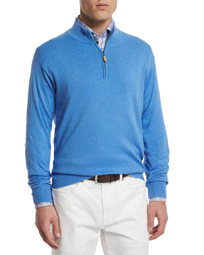 Cotton/Cashmere Quarter-Zip Pullover Sweater, Blue