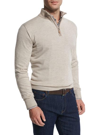 Peter Millar Cashmere-Blend Quarter-Zip Pullover Sweater, Sand