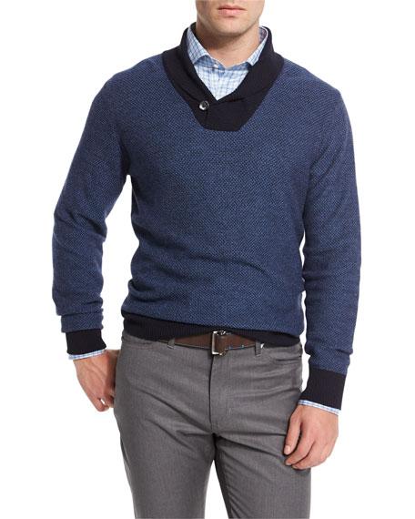 Peter Millar Contrast Shawl-Collar Pullover Sweater, Blue