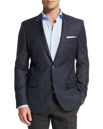 Mini-Check Slim-Fit Wool Sport Coat, Navy