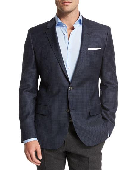 Boss Hugo Boss Mini-Check Slim-Fit Wool Sport Coat, Navy