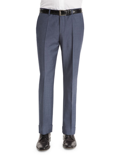 Solid Regular-Fit Wool Trousers, Gray