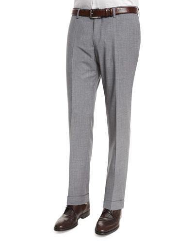 Genesis Slim-Fit Cashmere-Blend Trousers, Light Gray