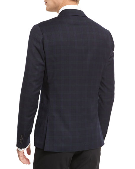 Plaid Two-Button Flannel Jacket, Black