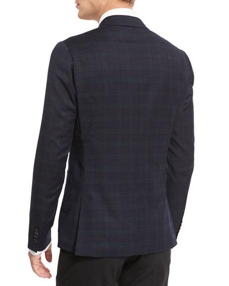 Plaid Two-Button Flannel Jacket, Black