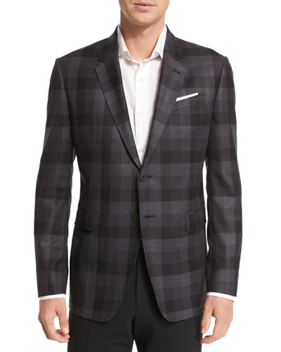 Buffalo Check Wool Sport Coat, Black