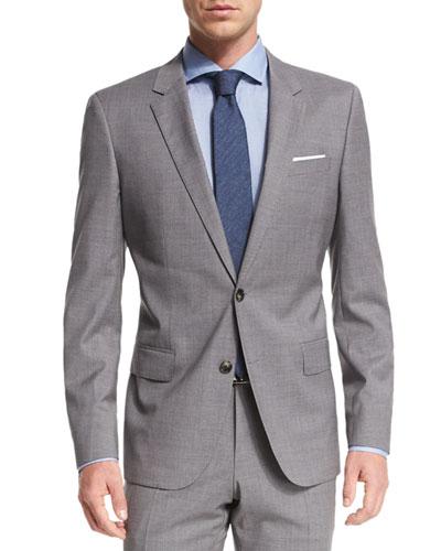 Huge Genius Tonal Plaid Two-Piece Slim Wool Suit, Light Gray