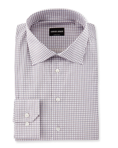 Giorgio Armani Check Dress Shirt, Gray/White