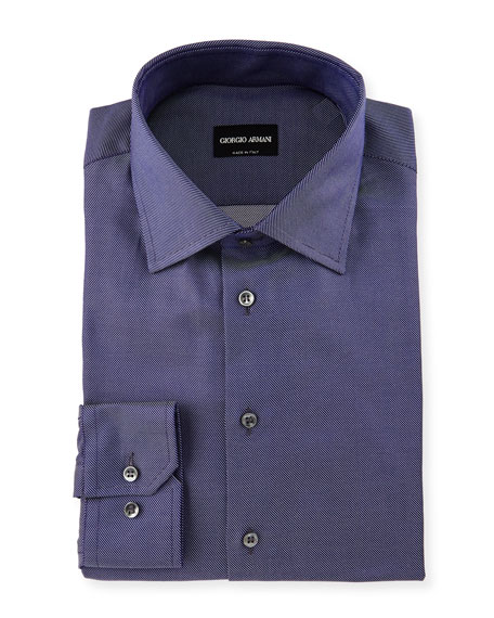 Giorgio Armani Diagonal-Twill Dress Shirt, Navy