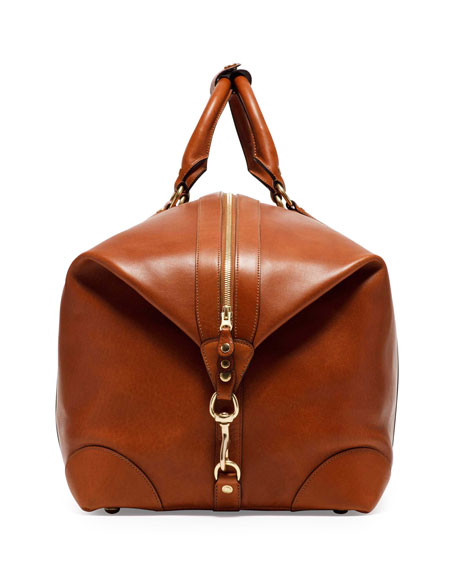 98 large leather duffel bag chestnut