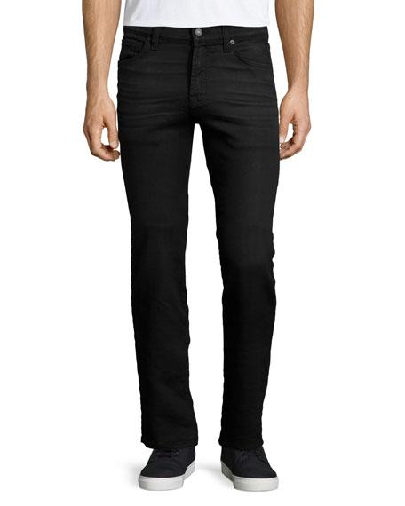 7 For All Mankind Rouge Melange Knit Denim Jeans, Black