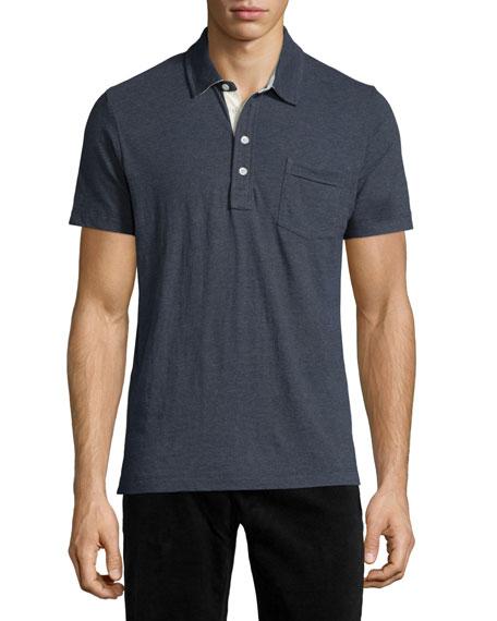 Billy Reid Pensacola Short-Sleeve Jersey Polo Shirt, Black