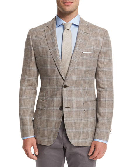 BOSS Jayden Plaid Two-Button Sport Coat, Tan