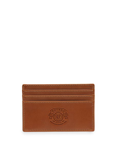 Slim Leather Credit Card Case No. 204, Chestnut