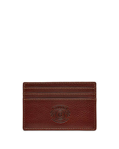Slim Leather Card Case, Vintage Chestnut