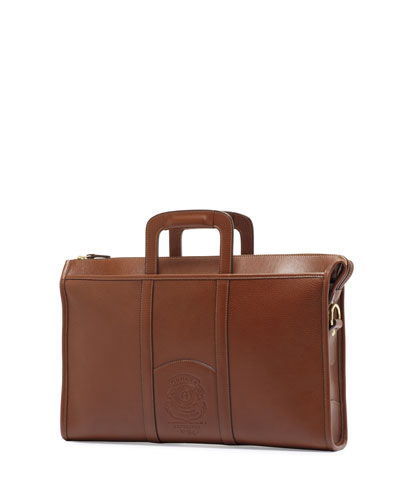 Expediter Leather Attache Case, Vintage Chestnut