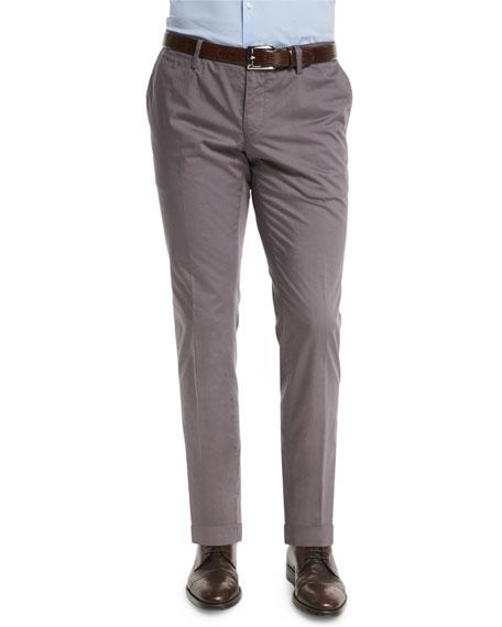 BOSS Stanino Slim-Fit Cotton Trousers, Gray