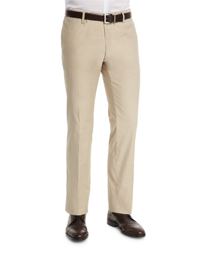 Stanino Slim-Fit Flat-Front Trousers, Tan