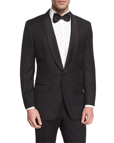 BOSS Satin Shawl Collar Textured Slim Tuxedo Jacket,