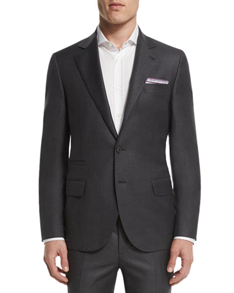 Brunello Cucinelli Solid Gabardine Two-Piece Wool Suit, Charcoal