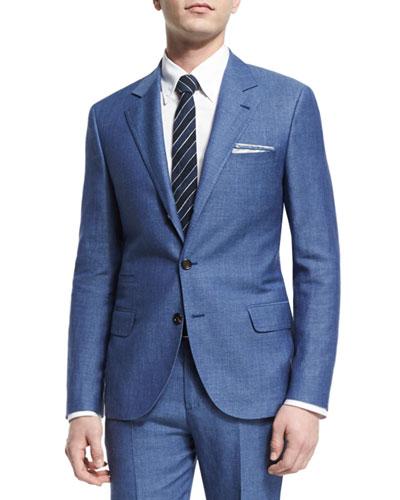Linen/Wool/Silk Two-Piece Suit, Blue