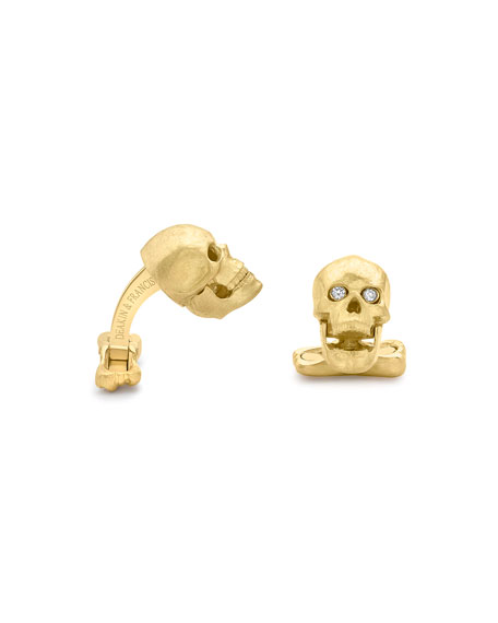 Yellow-Gold Skull Cuff Links