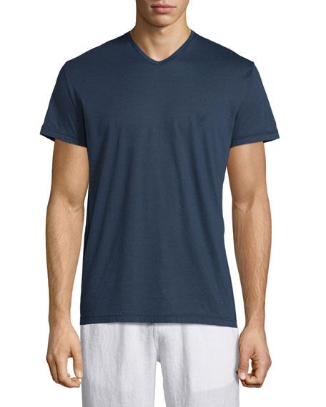 Vilebrequin V-Neck Short-Sleeve Jersey T-Shirt, Navy