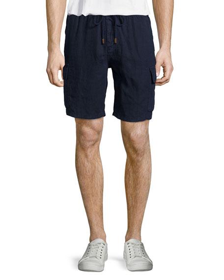 Vilebrequin Baie Solid Linen Cargo Shorts, Red