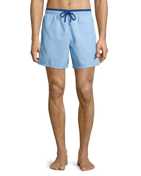 VilebrequinMoka Bi-Color Solid Swim Trunks, Light Blue