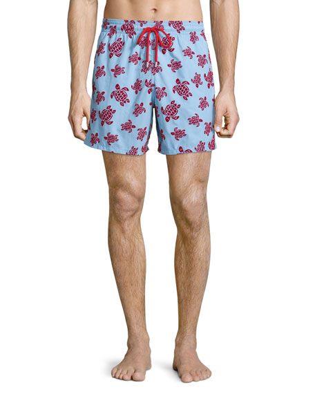 Vilebrequin Moorea Swim Trunks W/ Flocked Turtles, Light