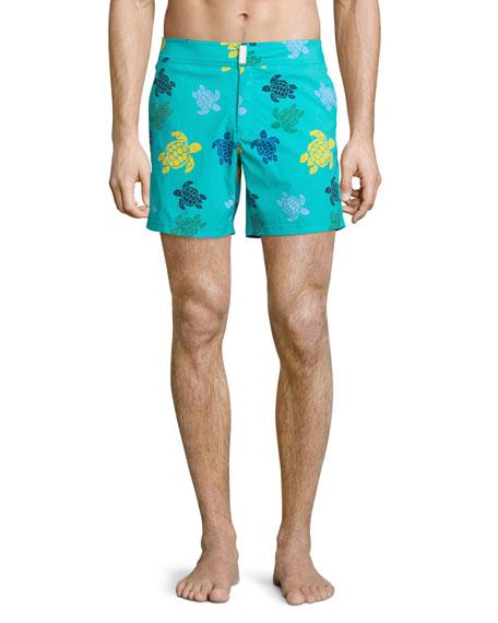 Vilebrequin Merise Multicolored Turtle-Print Swim Trunks, Multi
