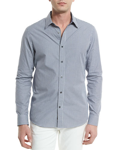Gingham Long-Sleeve Sport Shirt, Navy