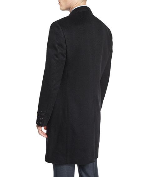 Cashmere Long Car Coat, Black