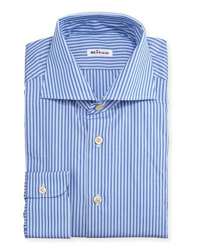 Bengal-Stripe Woven Dress Shirt, Blue