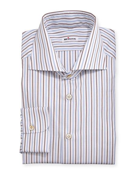 Kiton Multi-Striped Woven Dress Shirt, Blue/Brown/White