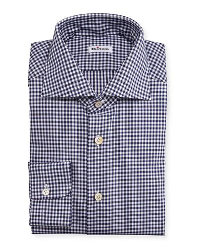 Unbalanced Gingham Woven Dress Shirt, Navy