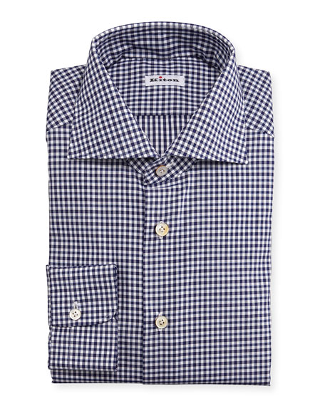 Kiton Unbalanced Gingham Woven Dress Shirt Navy