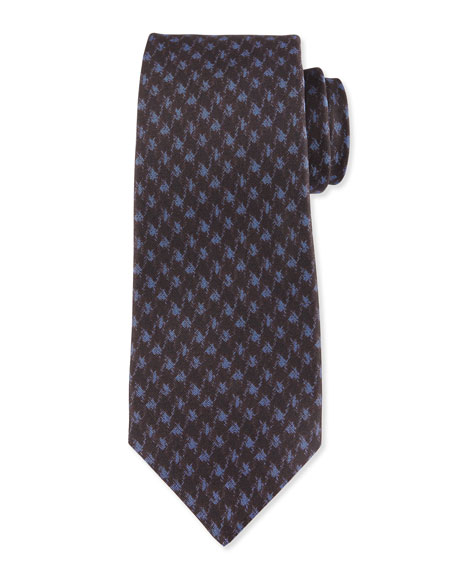 Kiton Modern Houndstooth-Print Silk Tie, Blue
