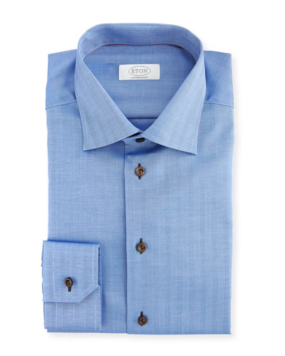 Contemporary-Fit Solid Dress Shirt, Blue