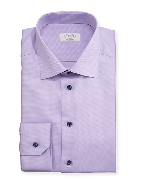 Eton Contemporary-Fit Solid Twill Dress Shirt, Lavender