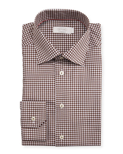 Contemporary-Fit Bold Gingham Dress Shirt, Brown