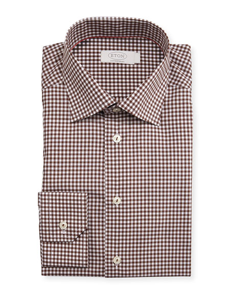 Eton Contemporary-Fit Bold Gingham Dress Shirt, Brown
