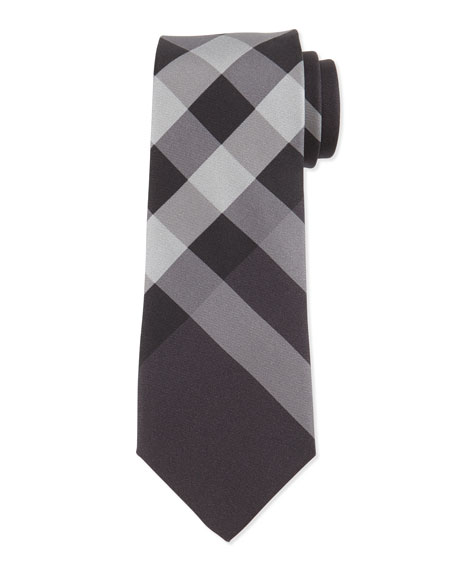 Burberry Beat-Check Silk Tie, Charcoal