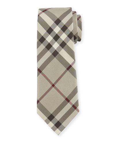Textured Check Silk Tie, Taupe