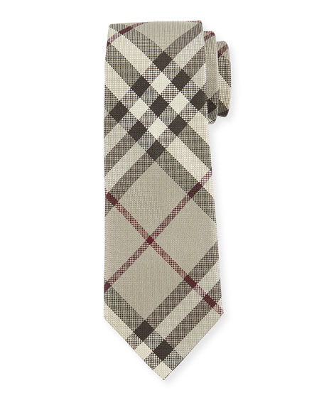 Burberry Textured Check Silk Tie, Taupe