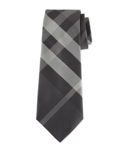 Beat Check Silk Tie, Gray