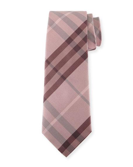 Heathered Check Silk Tie, Pink