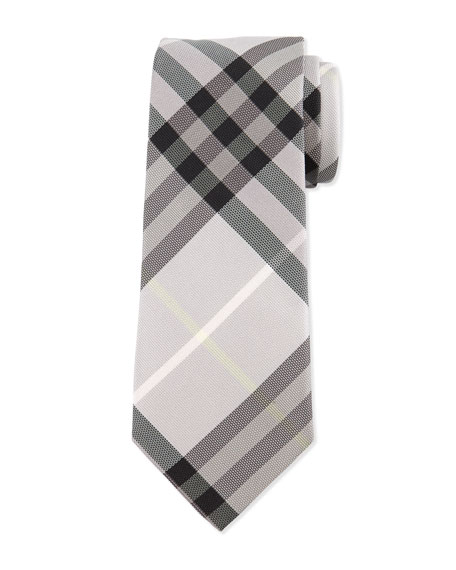 Burberry Check Silk Tie, Dusty Pink