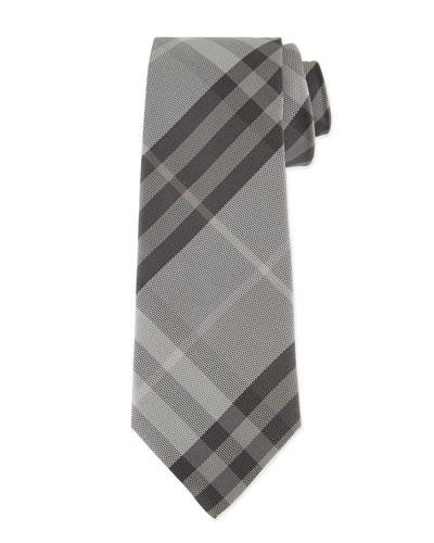 Textured Check Silk Tie, Gray